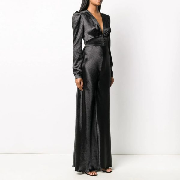 Bias cut pussy-bow gown