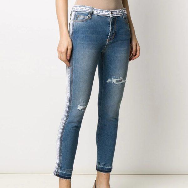 Lace trim jeans