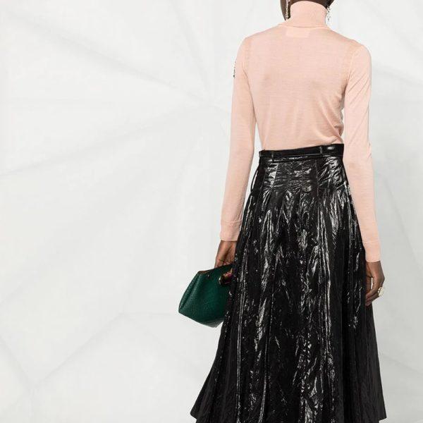 Crystal-embellished roll-neck jumper