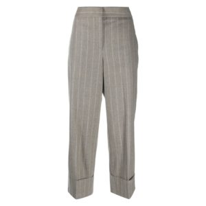 Pinstriped crop trousers