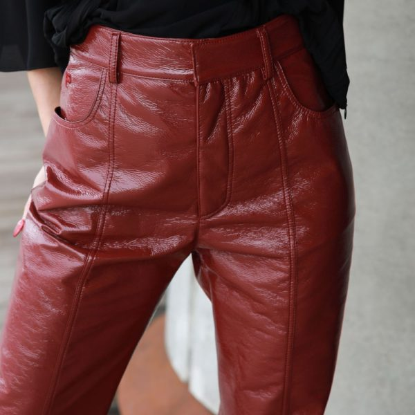 Burgundy shine effect trousers