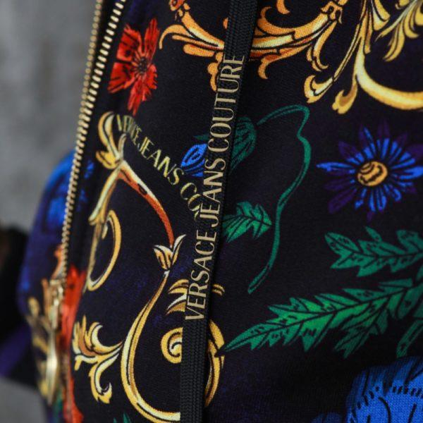 Baroque-print zipped hoodie