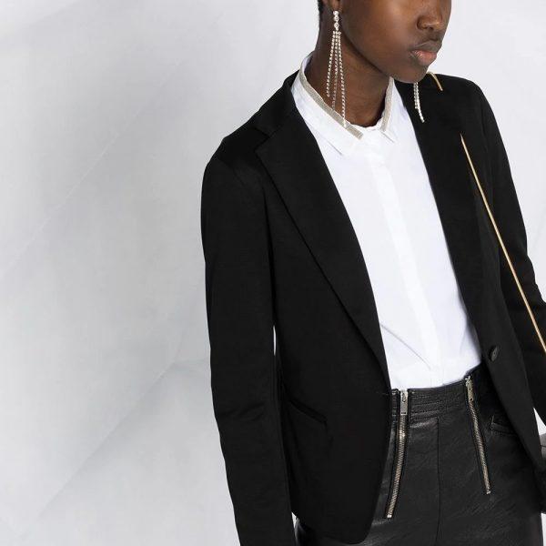 Crystal-trim collar shirt