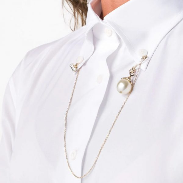 Chain collar button-down shirt