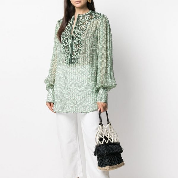 Embroidered bib blouse