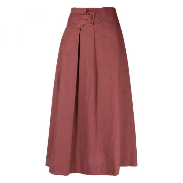 High-waisted flared maxi skirt