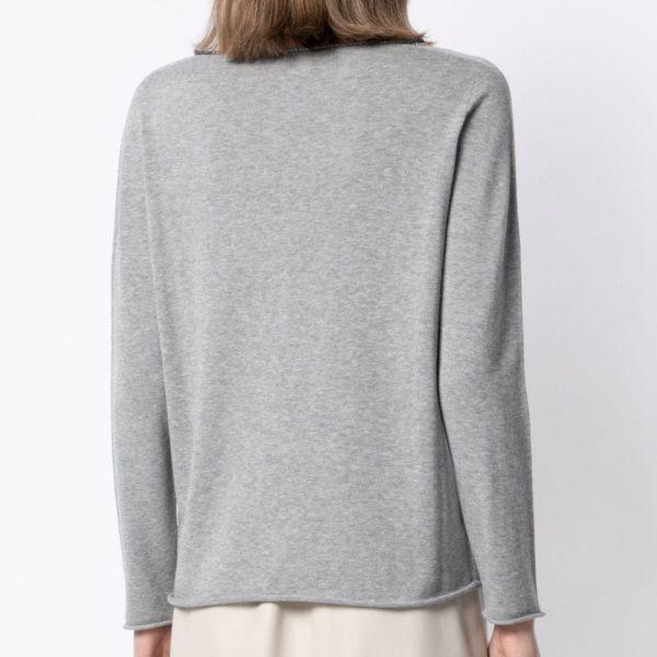 V-neck fine-knit jumper